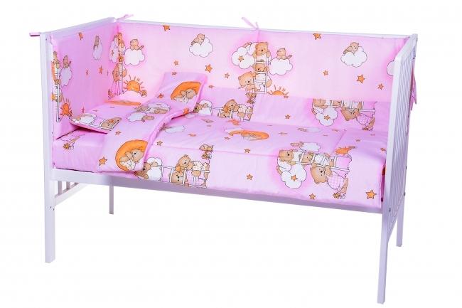 Lenjerie patut cu 7 piese Sleepy Teddy Bear Pink 008