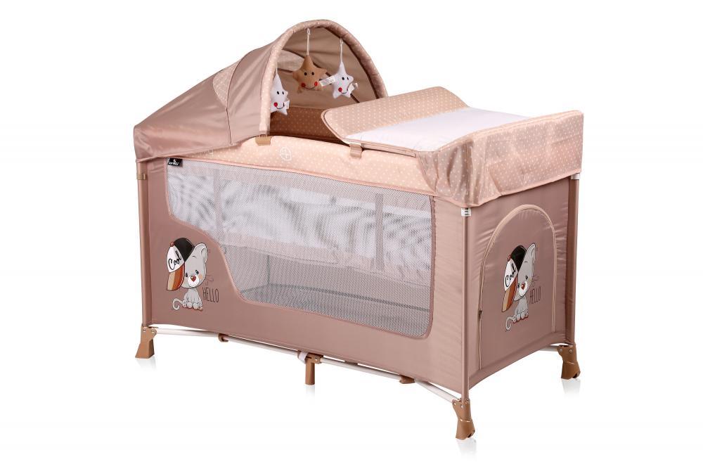 Patut pliabil San Remo Plus cu 2 nivele si accesorii Beige Cool Cat din categoria Camera copilului de la LORELLI