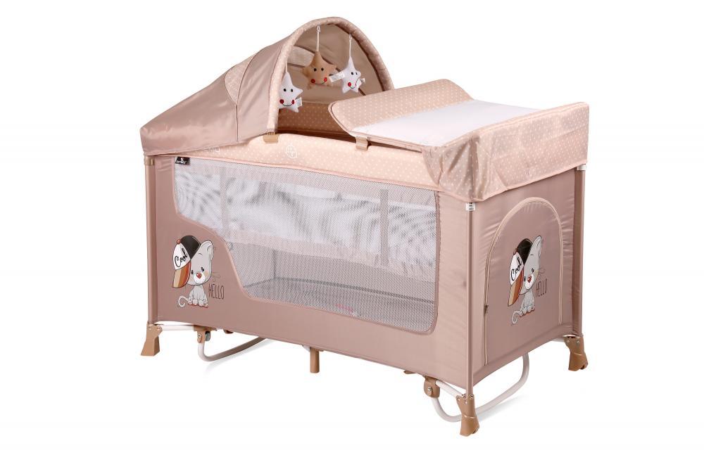 Patut pliabil San Remo Rocker cu 2 nivele si sistem de leganare Beige Cool Cat din categoria Camera copilului de la LORELLI