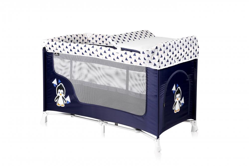 Patut pliabil San Remo cu 2 nivele Blue White Penguin din categoria Camera copilului de la LORELLI