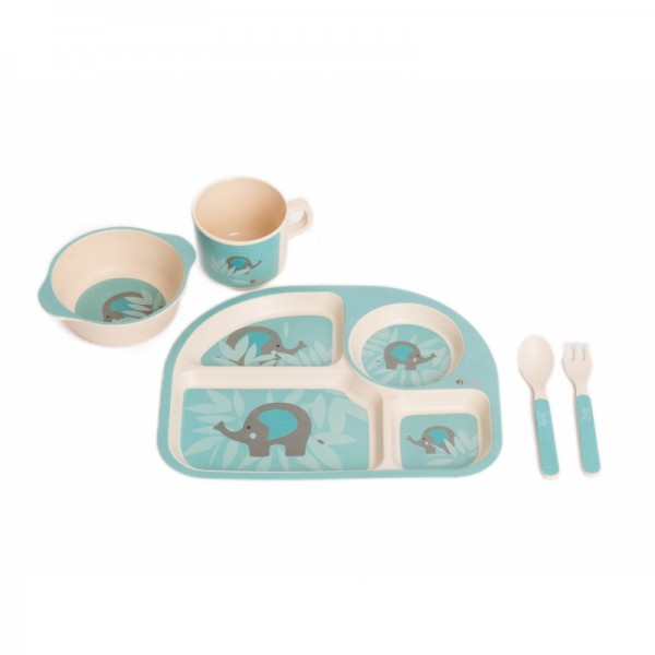 Set cina pentru bebelusi Elefant Albastru