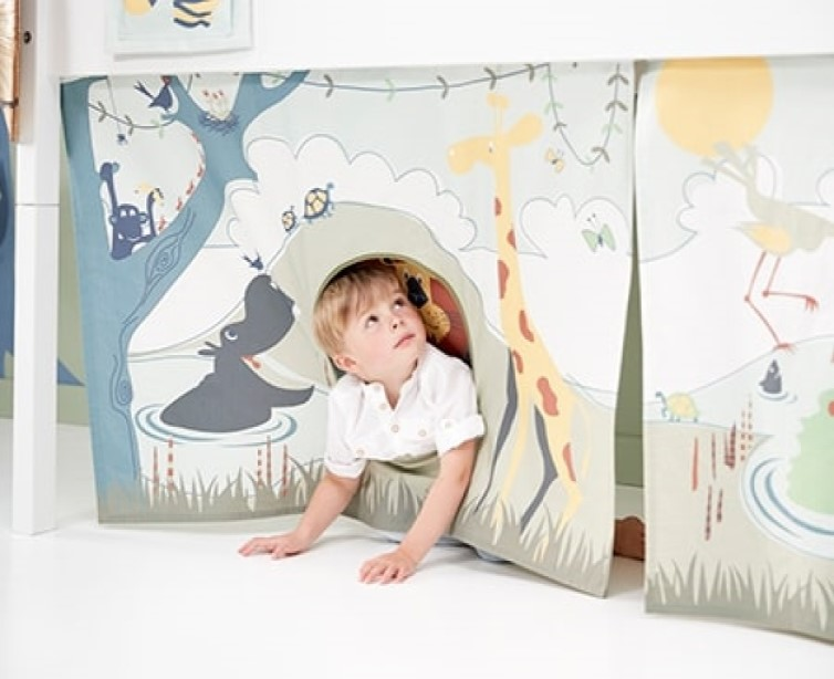 Set de 3 perdelute cu tema Safari pentru pat semi-inalt Flexa imagine