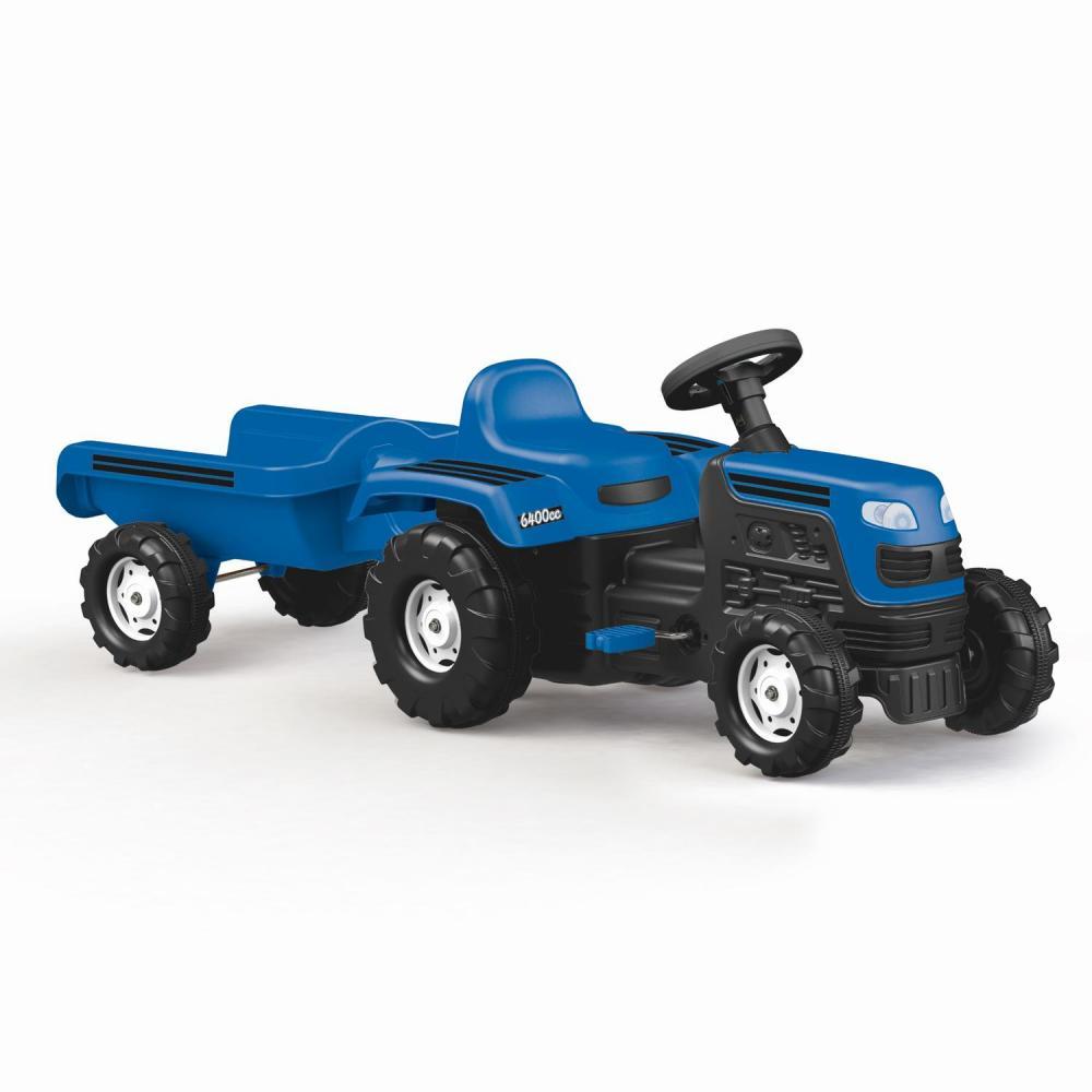 Tractor cu remorca si pedale albastru Dolu