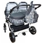 Carucior gemeni 3 in 1 Grey PJ Stroller