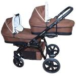 Carucior gemeni Lux 3 in 1 Brown PJ Stroller