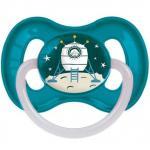 Suzeta rotunda din latex cu inel fosforescent Cosmic 6-18 luni