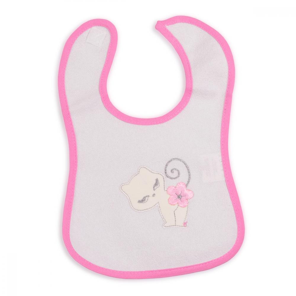 Bavetica impermeabila cu scai Baby Bib Kitty Pink