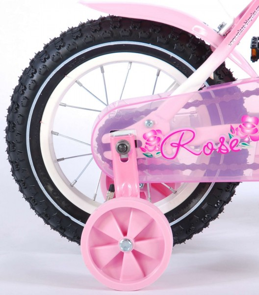 Bicicleta Volare pentru fete 12 inch cu roti ajutatoare Rose