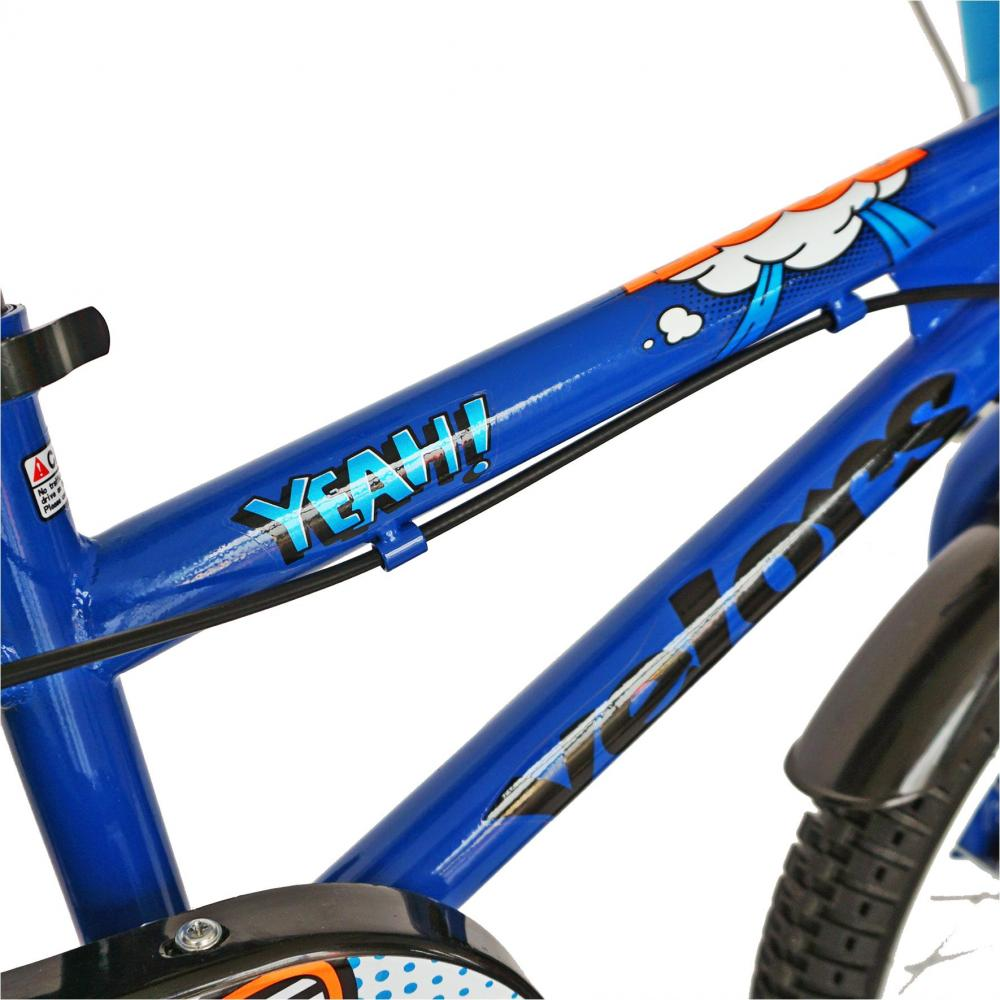 Bicicleta copii 14 Velors V1401A cadru otel albastrunegru si roti ajutatoare