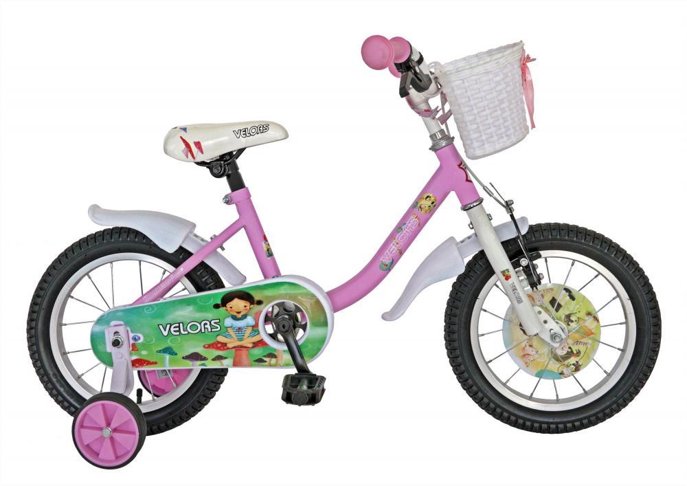 Bicicleta copii 14 Velors V1402B cadru otel roz alb si roti ajutatoare din categoria La Plimbare de la VELORS