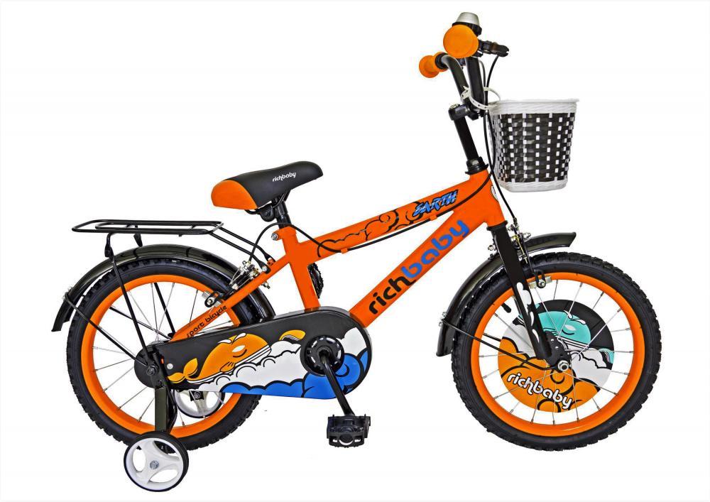 Bicicleta copii 16 Rich Baby R1601A cadru otel portocaliu negru si roti ajutatoare