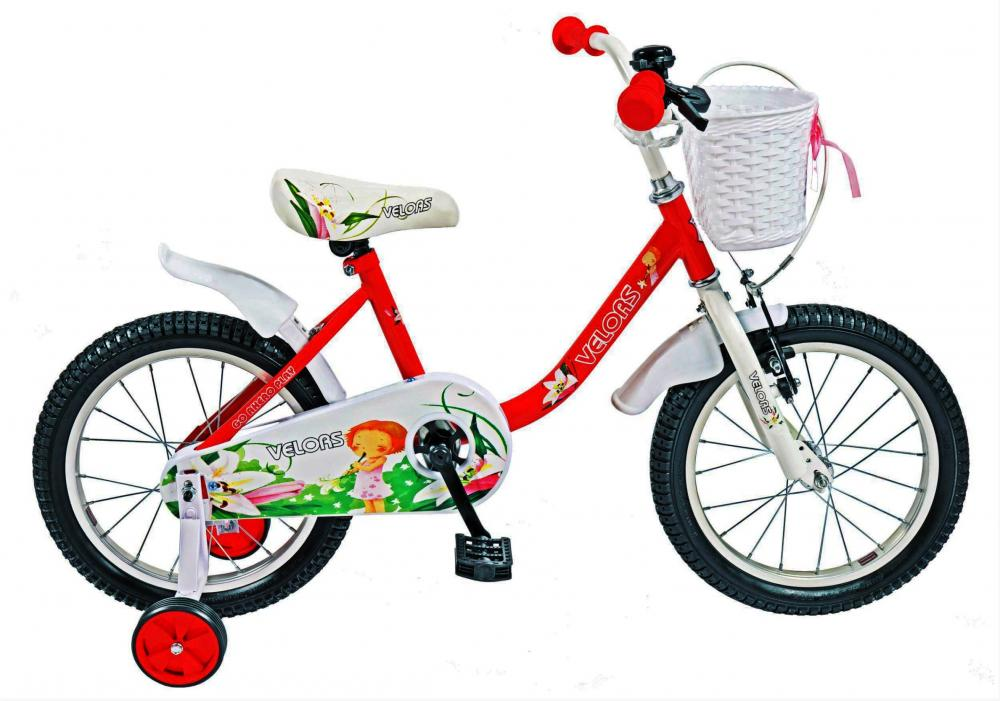 Bicicleta copii 16 Velors V1602B cadru otel rosu alb si roti ajutatoare din categoria La Plimbare de la VELORS