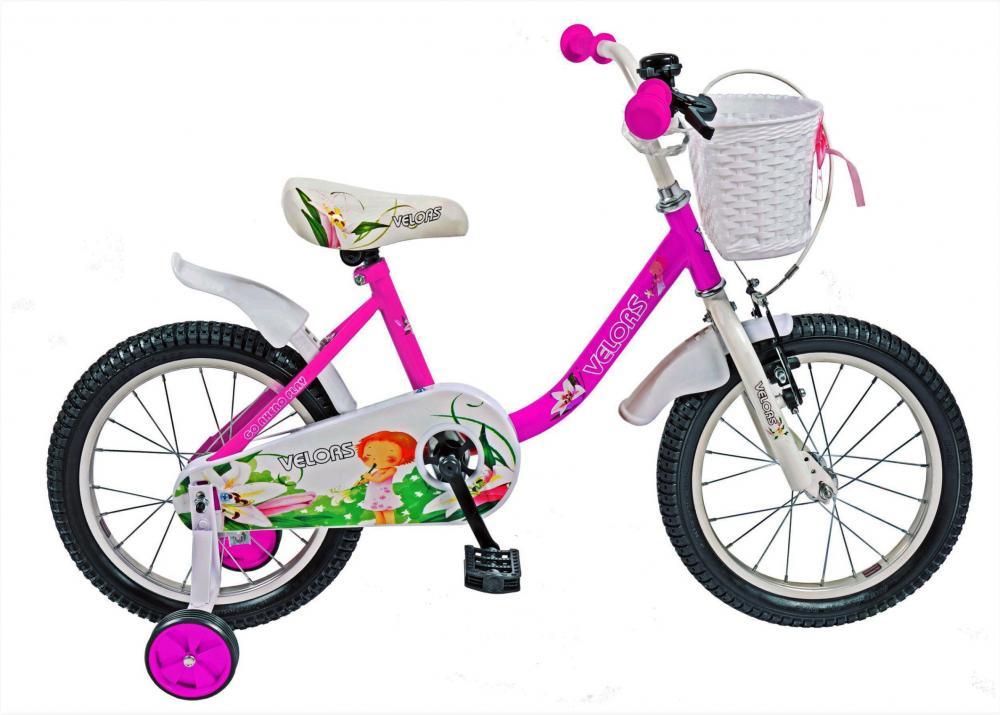 Bicicleta copii 16 Velors V1602B cadru otel roz alb si roti ajutatoare din categoria La Plimbare de la VELORS