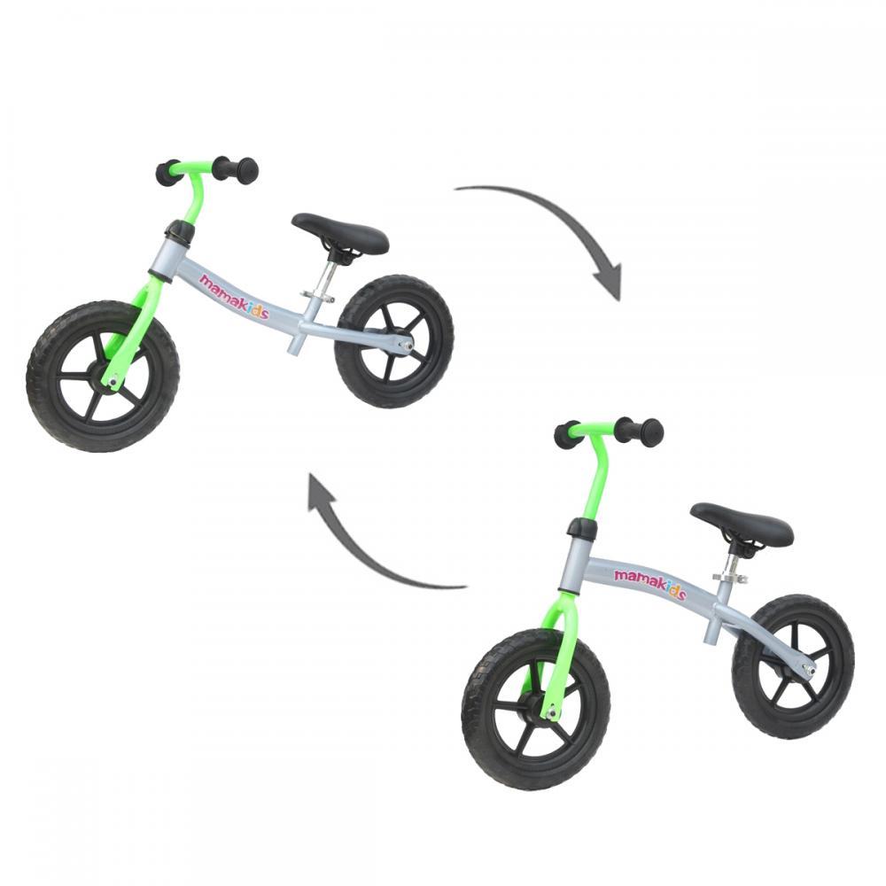 Bicicleta Fara Pedale Transformabila 12 Inch Mamakids Gri Cu Verde