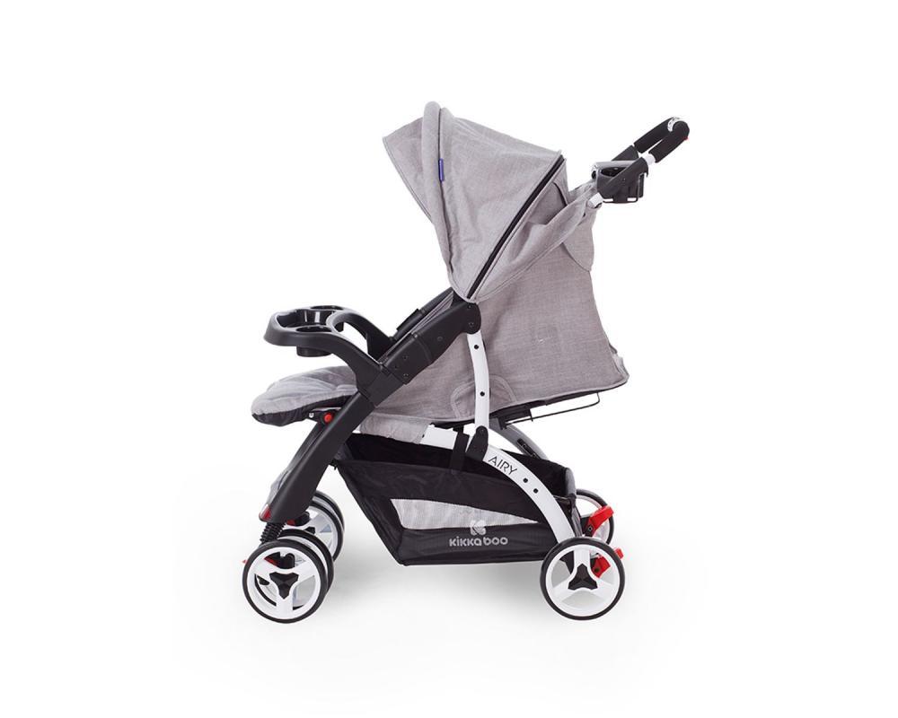 Carucior cu husa picioare si geanta mamici Airy Grey Melange - 3