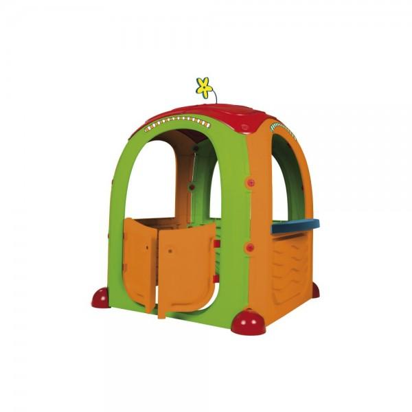 Casuta de joaca pentru copii Paradiso Cocoon Playhouse din plastic cu 3 autocolante supermarket bucatarie si atelier imagine