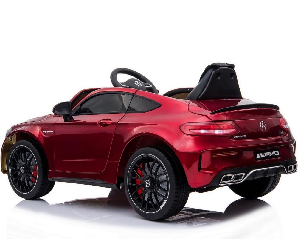 Masinuta electrica cu roti din cauciuc si deschidere usi Mercedes Benz C63s Red
