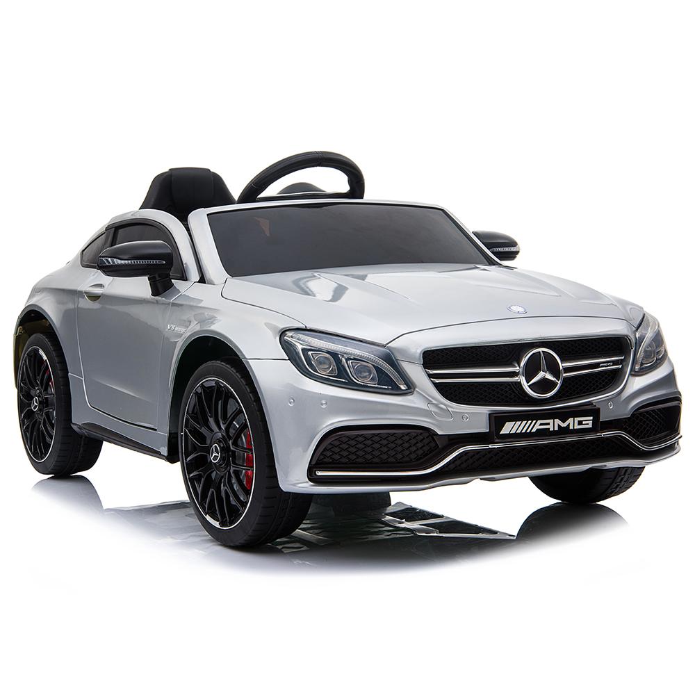 Masinuta electrica cu roti din cauciuc si deschidere usi Mercedes Benz C63s Silver