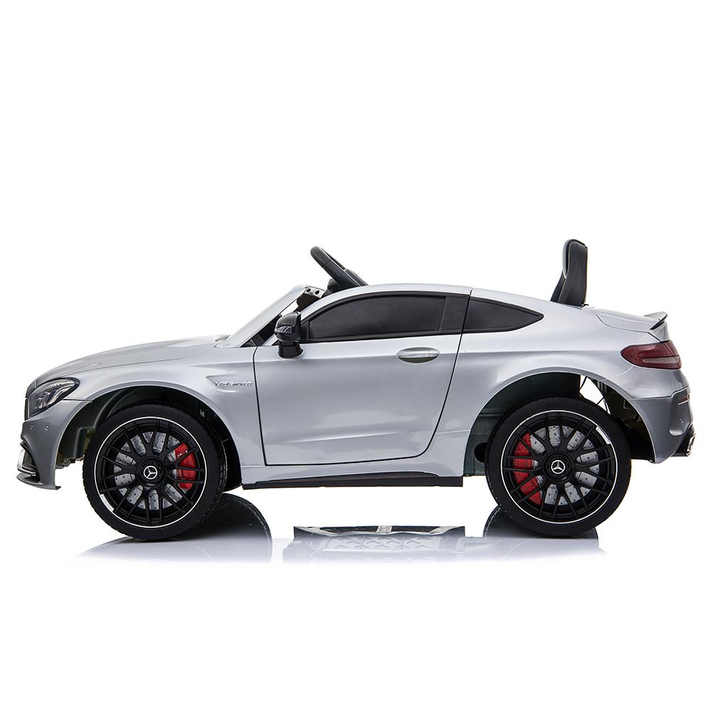 Masinuta electrica cu roti din cauciuc si deschidere usi Mercedes Benz C63s Silver - 1