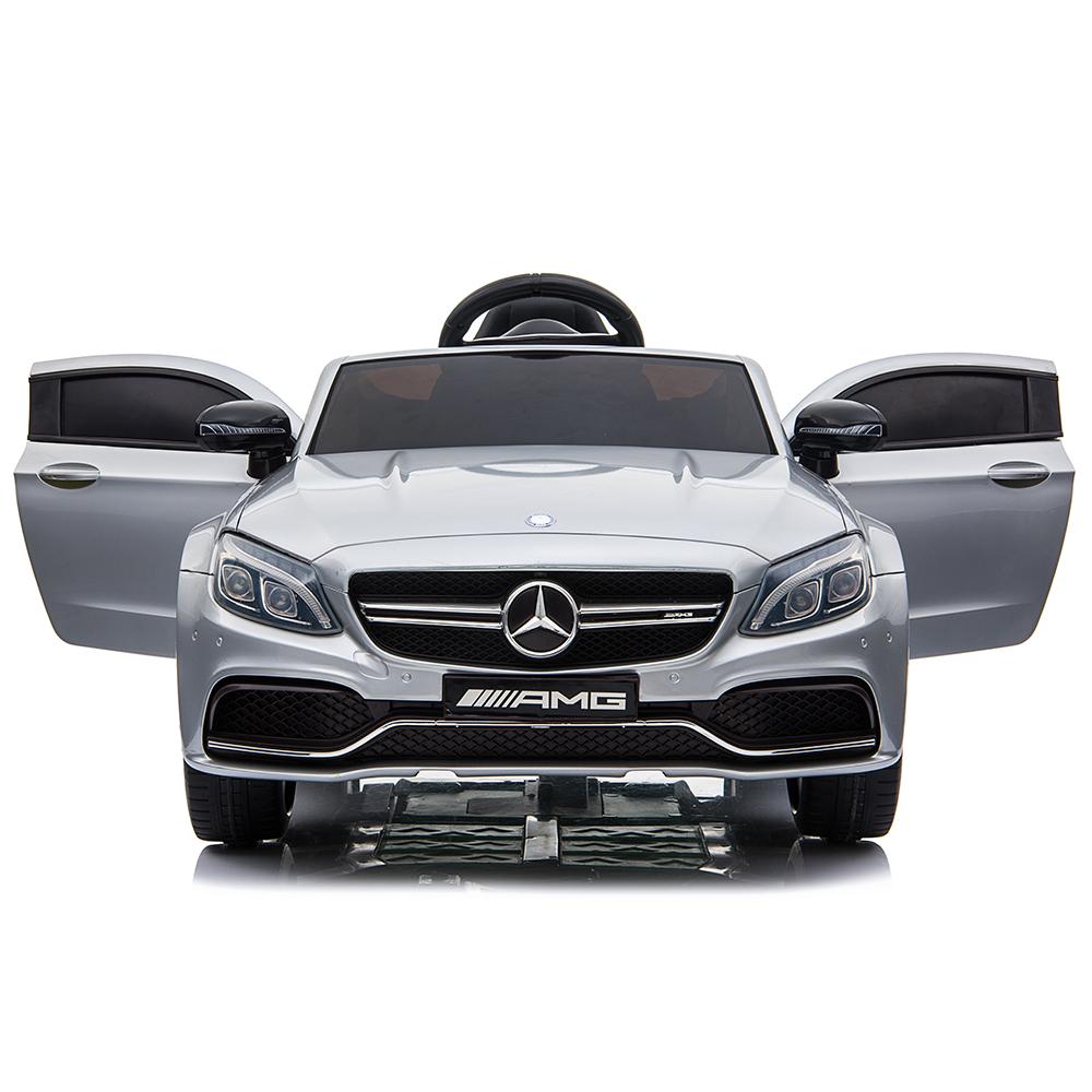 Masinuta electrica cu roti din cauciuc si deschidere usi Mercedes Benz C63s Silver - 2