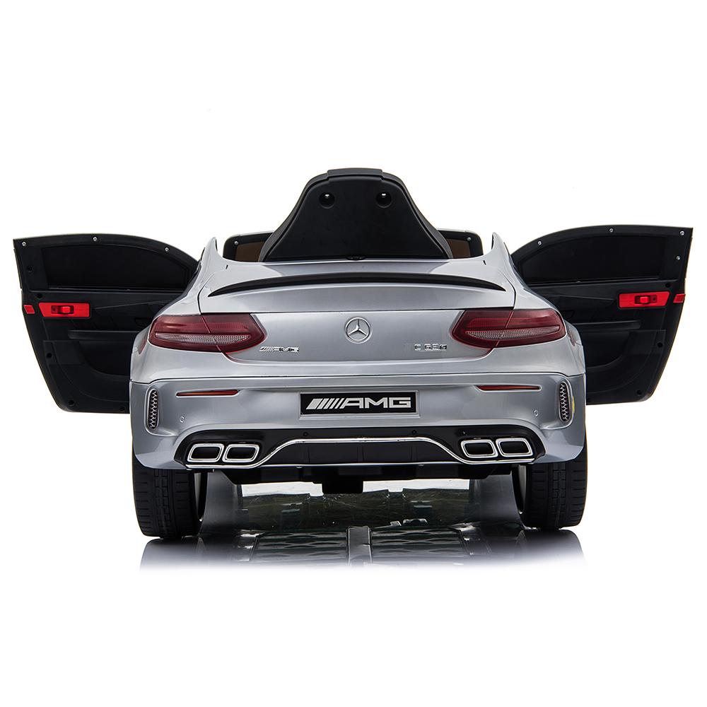 Masinuta electrica cu roti din cauciuc si deschidere usi Mercedes Benz C63s Silver - 3