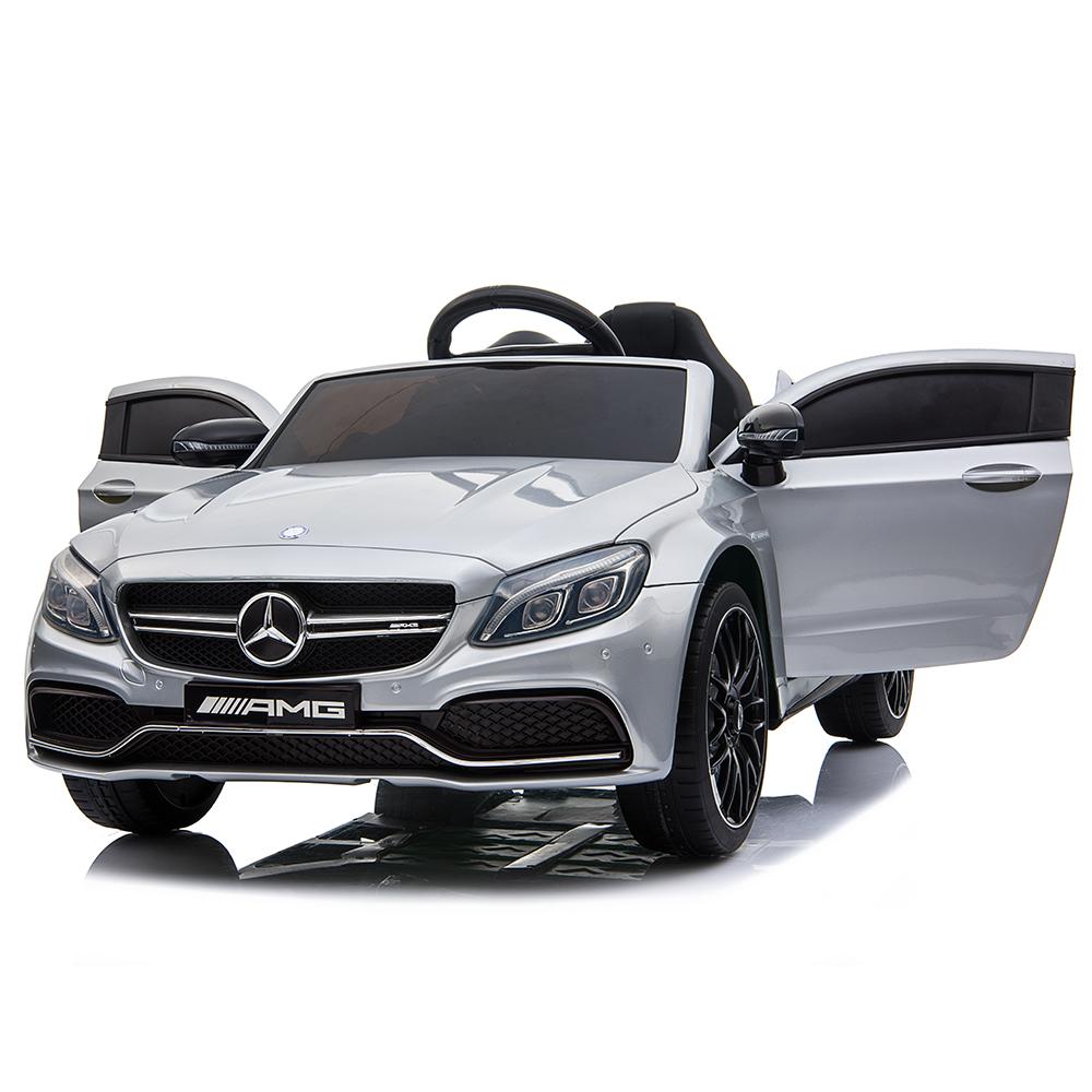 Masinuta electrica cu roti din cauciuc si deschidere usi Mercedes Benz C63s Silver - 4