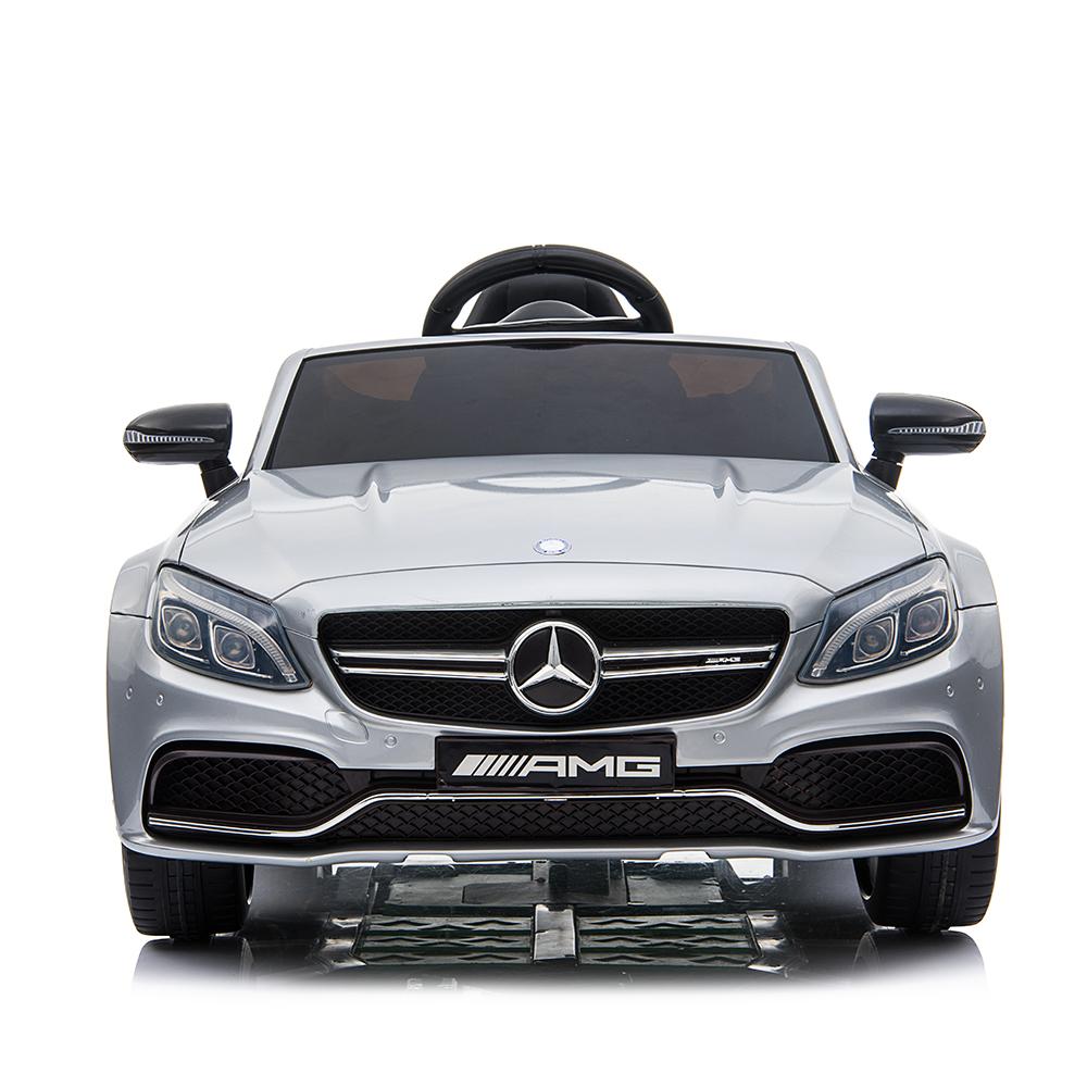 Masinuta electrica cu roti din cauciuc si deschidere usi Mercedes Benz C63s Silver - 5