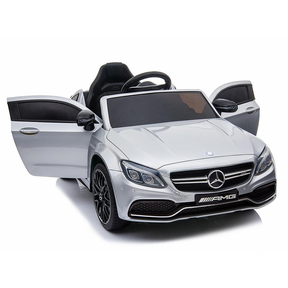 Masinuta electrica cu roti din cauciuc si deschidere usi Mercedes Benz C63s Silver - 7