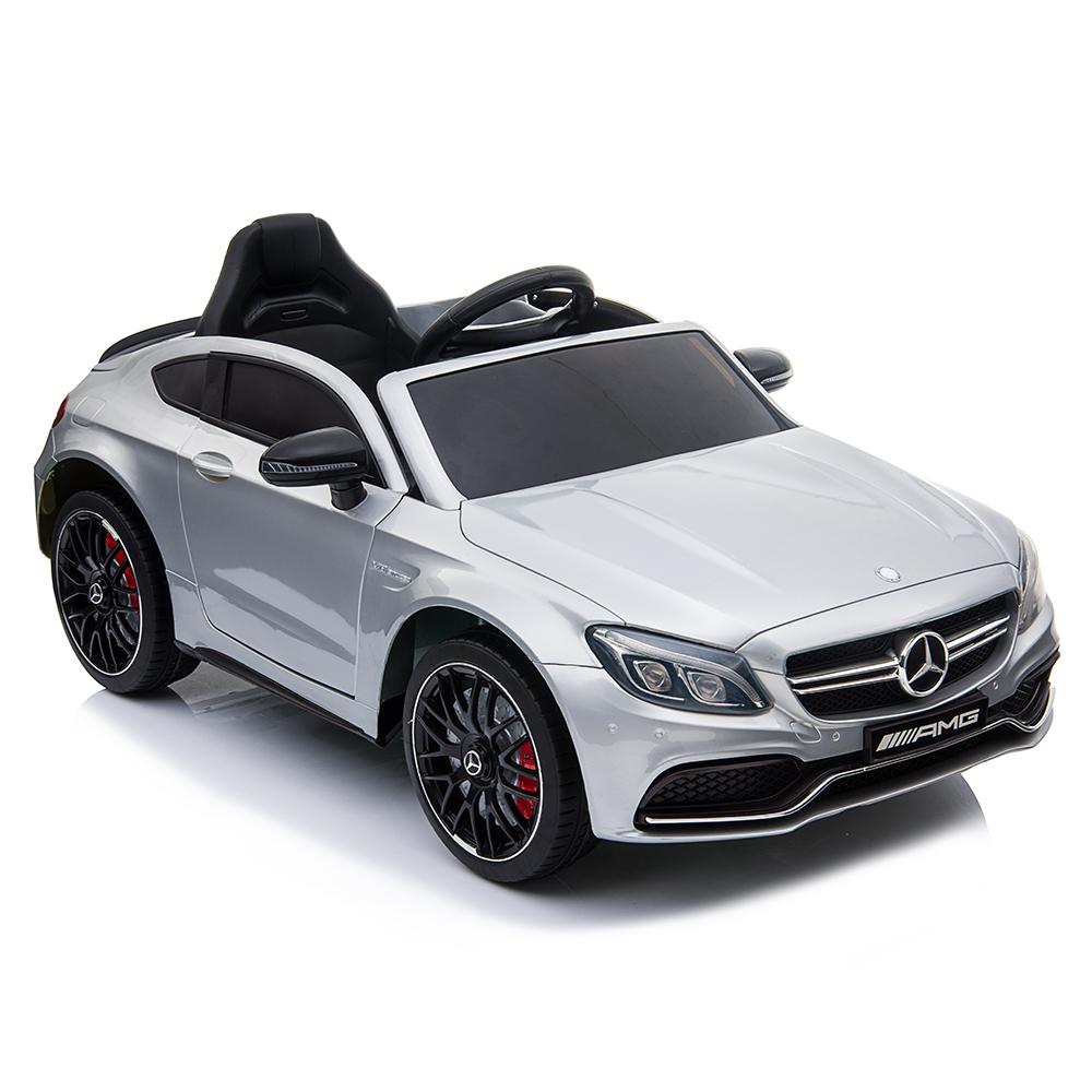 Masinuta electrica cu roti din cauciuc si deschidere usi Mercedes Benz C63s Silver - 8