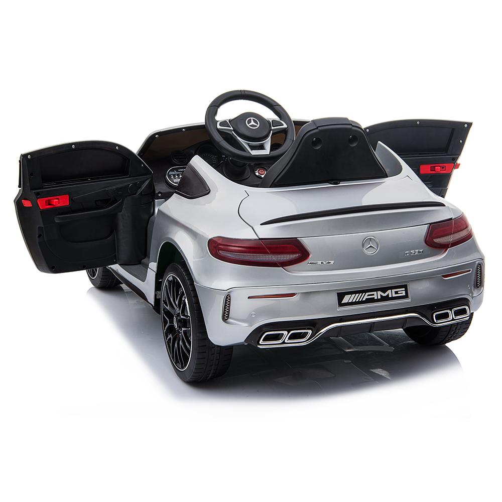 Masinuta electrica cu roti din cauciuc si deschidere usi Mercedes Benz C63s Silver - 9