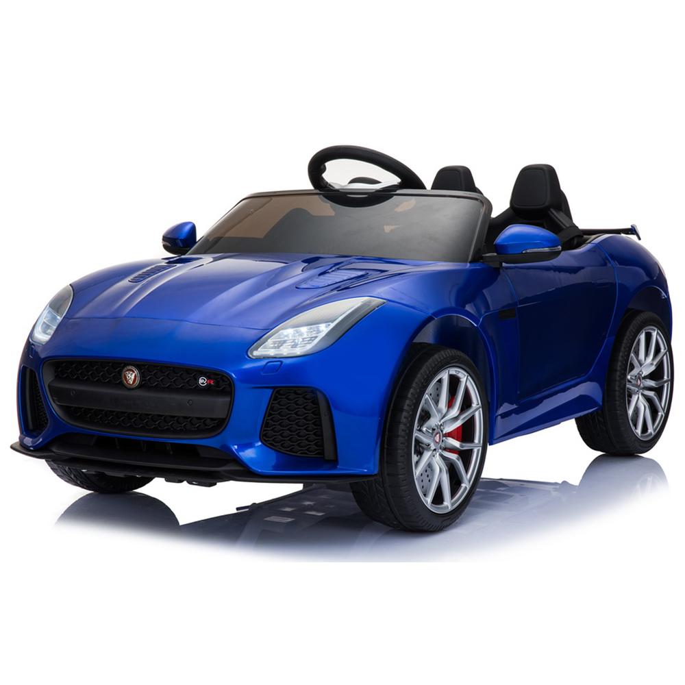 Masinuta electrica cu roti din cauciuc si licenta Jaguar F-type SVR Blue