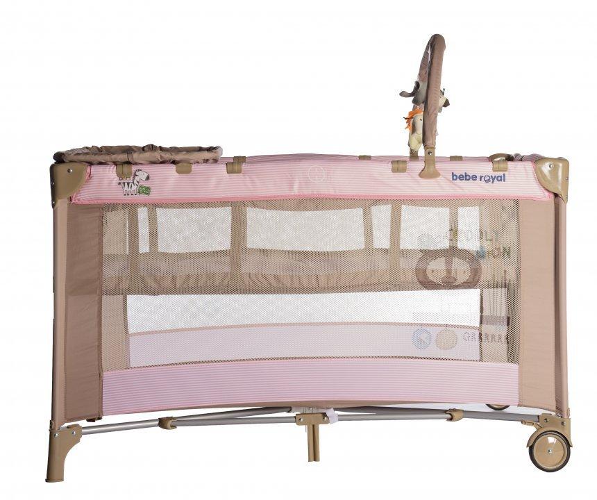 Patut pliabil Bebe Royal cu 2 nivele Roz imagine