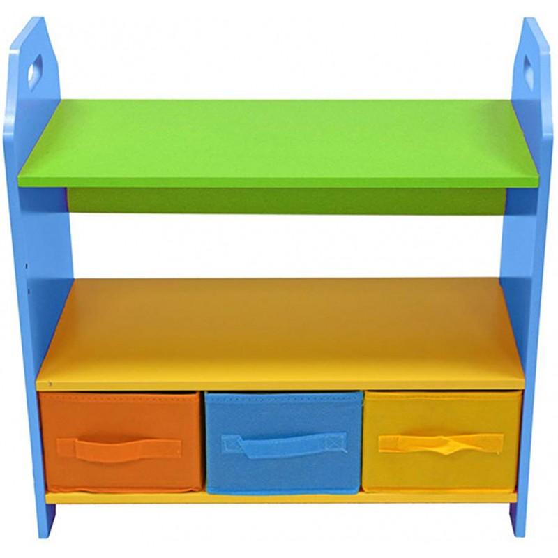 Raft carti si jucarii cu cadru din lemn Blue Crayon