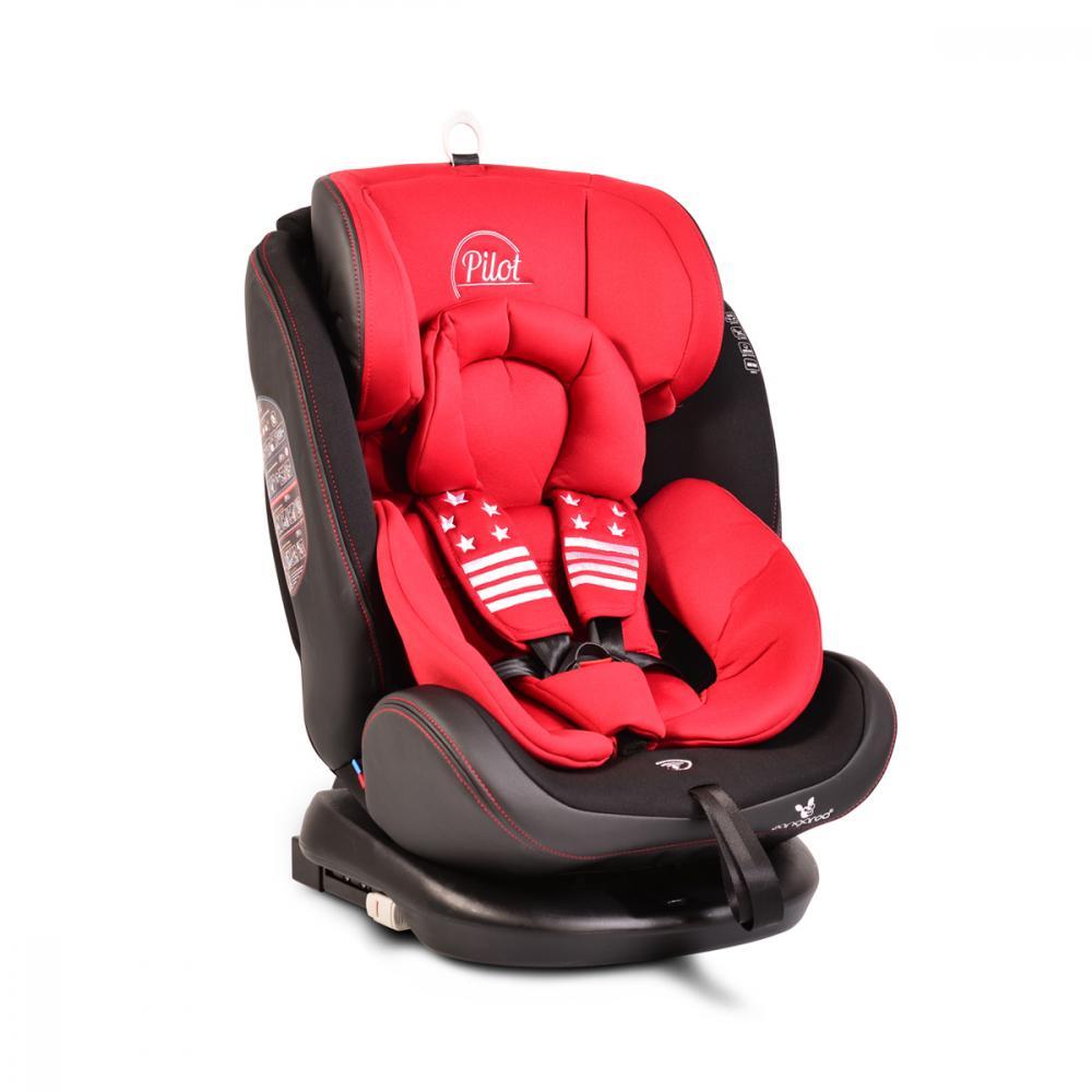Scaun auto rotativ cu Isofix 0- 36 kg Pilot Leather Red