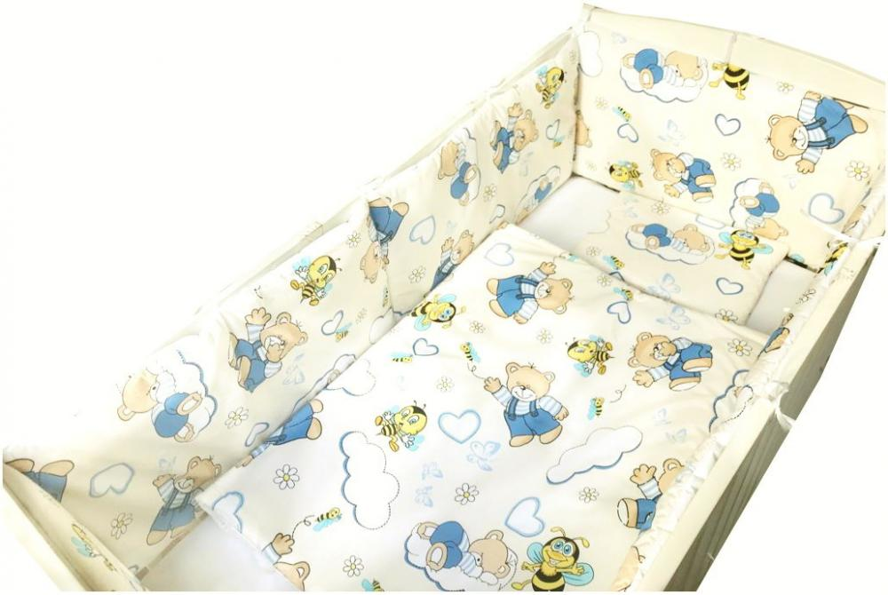 Set de aparatori pufoase h39 pat 140x70 cm DeLuxe Ursi cu albine pe crem