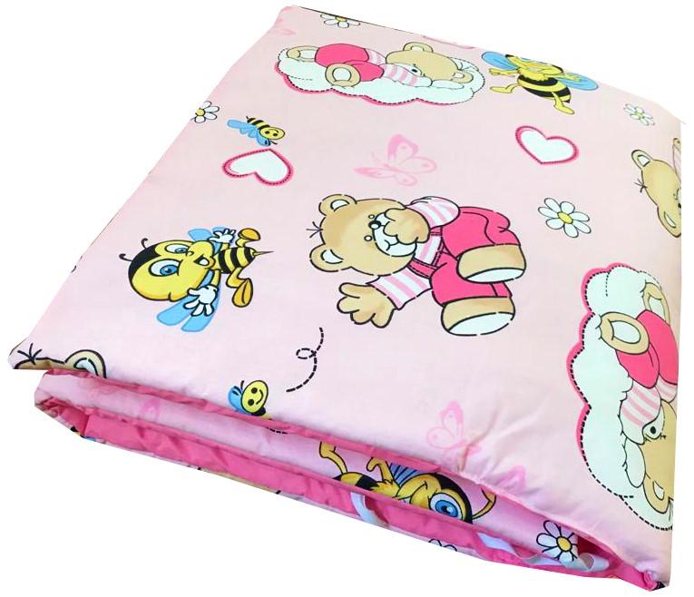 Set de aparatori pufoase h39 pat 140x70 cm DeLuxe Ursi cu albine pe roz
