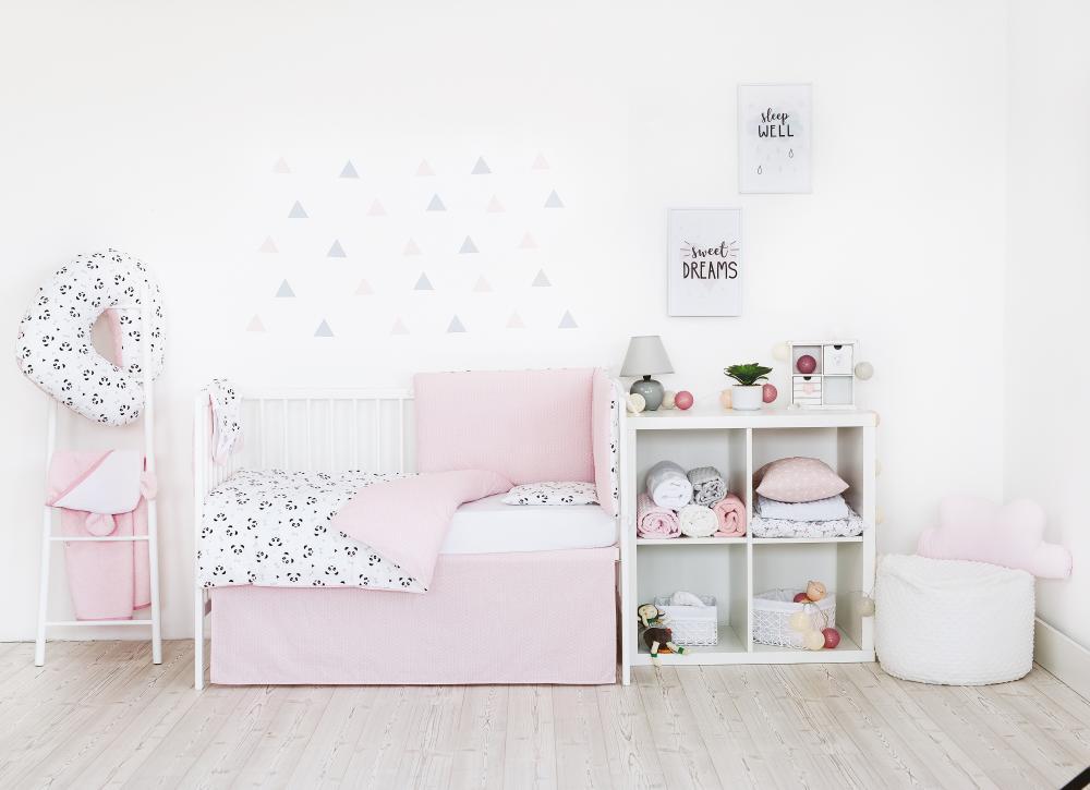 Set de pat pentru bebelusi Pink Panda - 3 piese, 100 bumbac