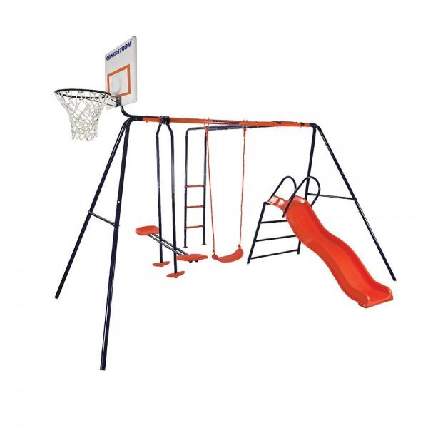 Spatiu de joaca pentru copii Atlas MVS cu leagan tobogan balansoar scara si cos de baschet