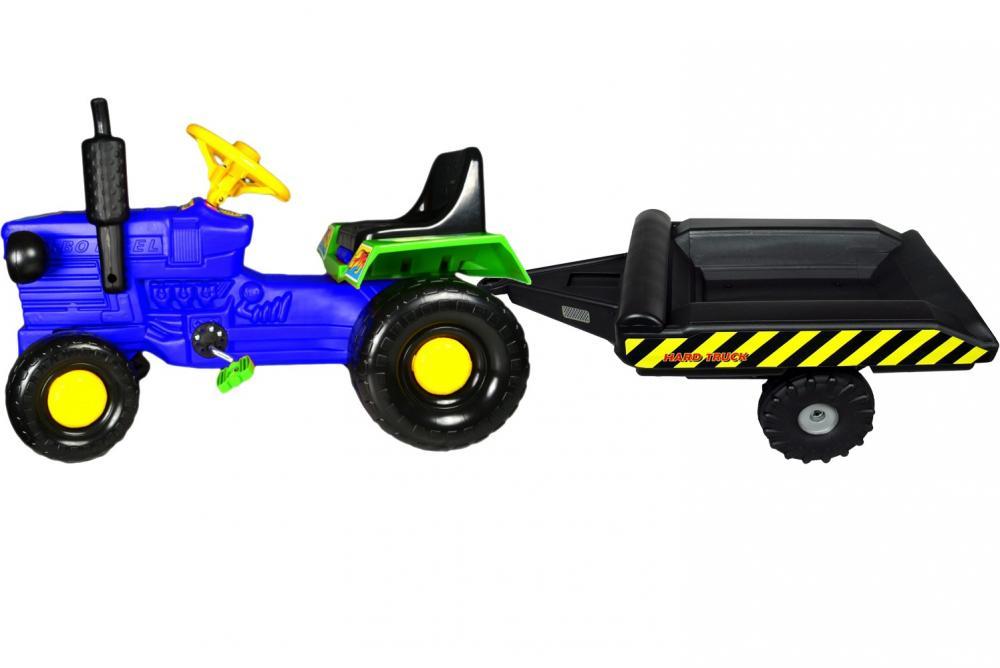 Tractor cu pedale si remorca Turbo blue