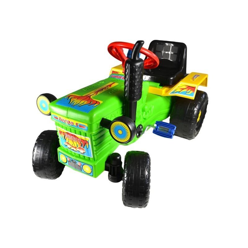 Tractor cu pedale si remorca Turbo green