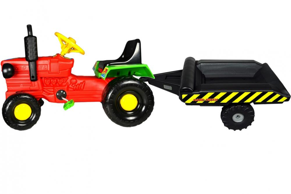 Tractor cu pedale si remorca Turbo red