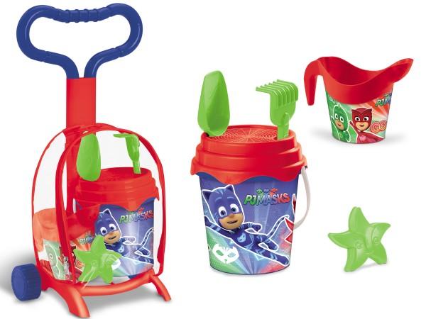 Troller cu ghiozdanel Pj Masks Mondo pentru copii cu jucarii plaja si galetusa imagine