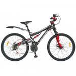 Bicicleta MTB-DH 26 Carpat Kaiser C2644A cadru otel negru/rosu