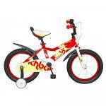 Bicicleta copii 16 Rich Baby D1602A cadru otel rosu / galben si roti ajutatoare