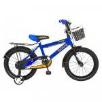 Bicicleta copii 16 Rich Baby R1601A cadru otel albastru / negru si roti ajutatoare