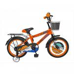 Bicicleta copii 16 Rich Baby R1601A cadru otel portocaliu / negru si roti ajutatoare