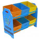 Organizator jucarii cu cadru din lemn Blue Crayon