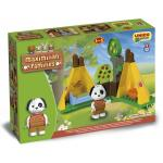 Set constructie cuburi Unico Maximilian Families in camping 29 piese