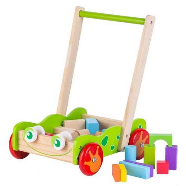 Antemergator din lemn + 20 de cuburi Ecotoys