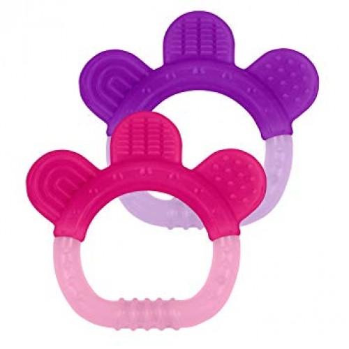 Jucarii pentru dentitie din silicon set 2 bucati Green Sprouts by iPlay Pink&Purple